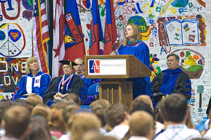 AU Alumni Board Vice President Erin Fuller, SPA/BA '93, SPA/MPA '94, addresses the Class of 2013.