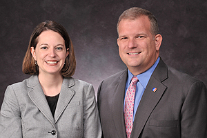 Raina Lenney, assistant vice president of Alumni Relations, and Thomas J. Minar, vice president of Development and Alumni Relations.  Photo by: Jeff Watts.