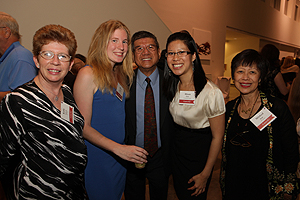 Left to right: Kathy Imholt; Meg Imholt, AU '09, Adrian Goh; Alison Goh, AU '09; and Mildred Goh.  Photo by Rick Reinhard.