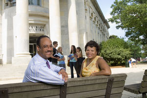 Tony Perkins and wife Rhonda Perkins outside the McKinley Building, photo by Jeff Watts.