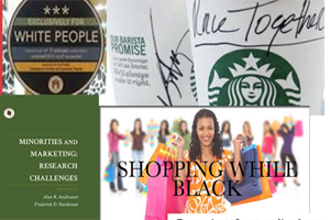Collage showing Starbucks cup, black people shopping