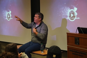 Ryan Kuehl, MBA '07, vice president of Under Armour's sports marketing, talks to students.