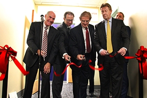 The ribbon cutting for the new Sustainable Entrepreneurship and Innovation Initiative Incubator at American University.