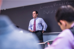 Government Professor Chris Edelson briefs PPL Scholars on his presidential powers research during a recent Wednesday Lab.