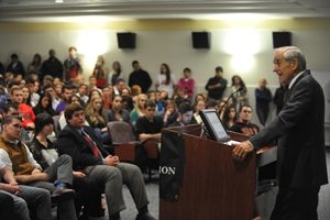 Former three-time presidential candidate Ron Paul spoke at American University.