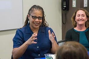 Kogod professor Sonya Grier at a panel discussion in the University Library.