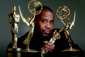 AU's Russell Williams with his Oscars and Emmys.