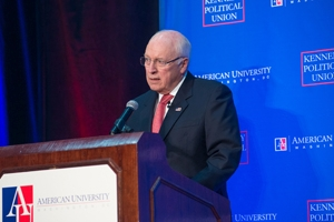 Former Vice President Dick Cheney speaks at a Kennedy Political Union event at American University