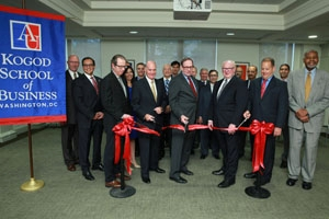 Faculty, staff and honored guests joined in the Kogod lounge to formally open the Kogod Cybersecurity Governance Center.