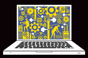 Cartoon laptop with gears and workers on the screen. Credit: Branden Vondrak.