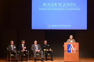SPA dean Barbara Romzek delivers remarks at the 36th Annual Roger W. Jones Award for Executive Leadership Ceremony.