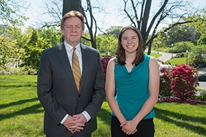 American University President Neil Kerwin and the President's Award recipient, Shannon Scovel.