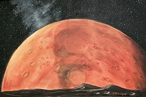 Howard McCurdy painted this image of Mars, and it hangs in his office in Ward Circle Building.