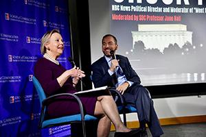 Chuck Todd talks with Professor Jane Hall on stage at the latest American Forum