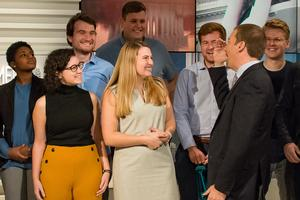 Washington Semester Program students on the set of Meet the Press with Chuck Todd