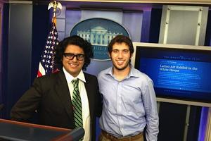 Jeswani and Carter at the White House press briefing room.
