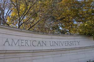 American University gate in Fall