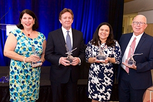 Alumni Award winners Sandra Walter, Neil Kerwin, Janethe Pena, and John Boyer