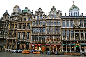 Ornate buildings along a street in the city.