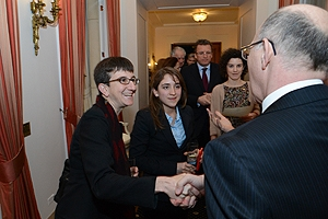 A student meets staff at the Fulbright Commission during her internship