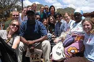 AU Nairobi students with program staff and Kenyans