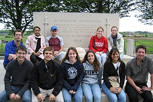 Students in front of a military shrine