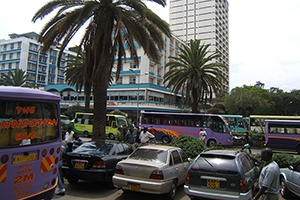 Nairobi street lined with palm trees