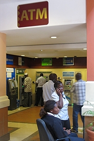 picture of a corner of a mall filled with various atm machines in nairobi