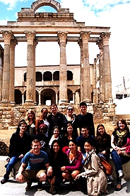 Students in front of Roman ruins in Merida
