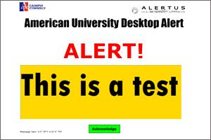 Screenshot of AU Desktop Alert