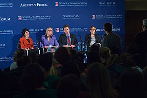 Panelists discuss youth views on climate change at American Forum.