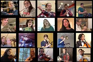 Members of the American University Ensemble perform together via virtual technology.
