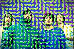 Cover image from the CD Merriweather Post Pavilion showing the band, Animal Collective covered with a mesh of light green lines.