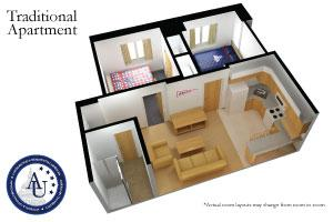 Apartments in Nebraska Hall are available in various occupancy options