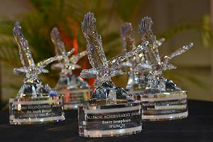 Alumni Awards trophies