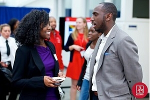 AU BAA Vice Chair Jonelle Williams, SPA/BA '09, mentoring an AU student during 2014 MCAR