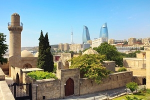 A city view of Baku showing the start contrast in old and new building styles.