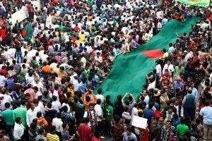 Protests against war crimes in Bangladesh.