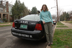 Lindsay Madeira, Manager of Sustainability Programs, en route to the conference in her biodiesel-fueled car.