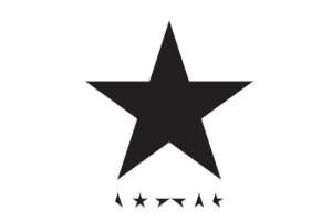 Cover art from David Bowie album Blackstar. A large five point star over smaller star pieces
