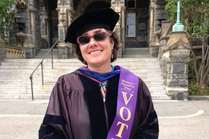 Bonnie Morris in academic regalia