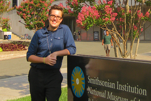 Dean's Intern Kevin Borow stands in front of the Smithsonian Institution, National History Museum's Lemelson Center for the Study of Invention and Innovation