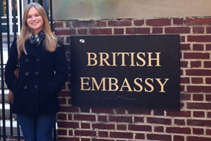 Lauren Powell, SIS/BA '13 poses beside British Embassy