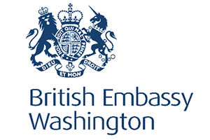 The British royal coat of arms of a lion and a unicorn, with the words, British Embassy Washington