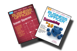 Covers of January and February Business Officer Magazine