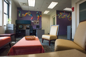 Picture of the lobby for the new Center for Diversity & Inclusion office, Aug 2012.