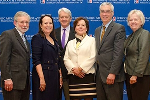 From left to right: Dan Fiorino, Felicia Marcus, William K. Reilly, Mindy Lubber, Bob Perciasepe, and Barbara Romzek.