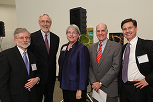 Daniel Fiorino, Dean William LeoGrande, Gail Bingham, Provost Scott Bass, Daniel C. Esty