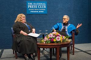 Johnnetta Cole and Laura Owen seated on National Press Club stage