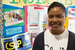 Chante Harris participates in community-based learning at AU.